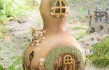 Домик для феи из декоративной тыквы