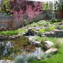 Водоём можно устроить в виде ручья впадающего в пруд