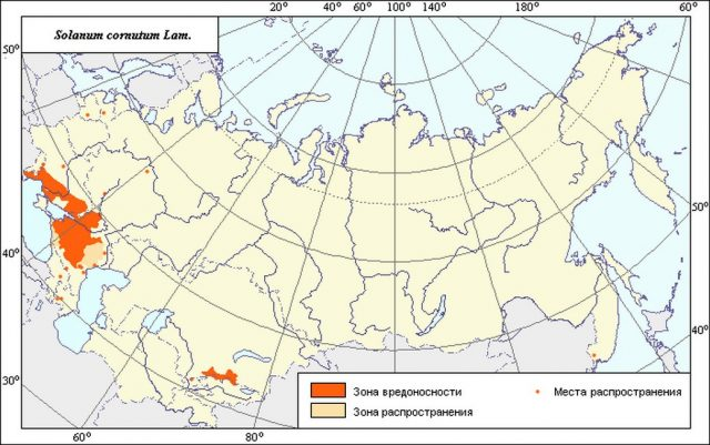 Ареал и зоны вредоносности Паслена колючего