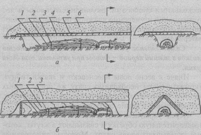 Сухое зимнее укрытие лозы винограда: Рис. 2. Сухое зимнее укрытие лозы: а — укрытие в траншее (1 — лоза, 2 — прокладка, 3 — крючок, 4 — щиты, 5 — пленка, 6 — снег); б —. укрытие коробом (1 — лоза, 2 — короб, 3 — пленка)