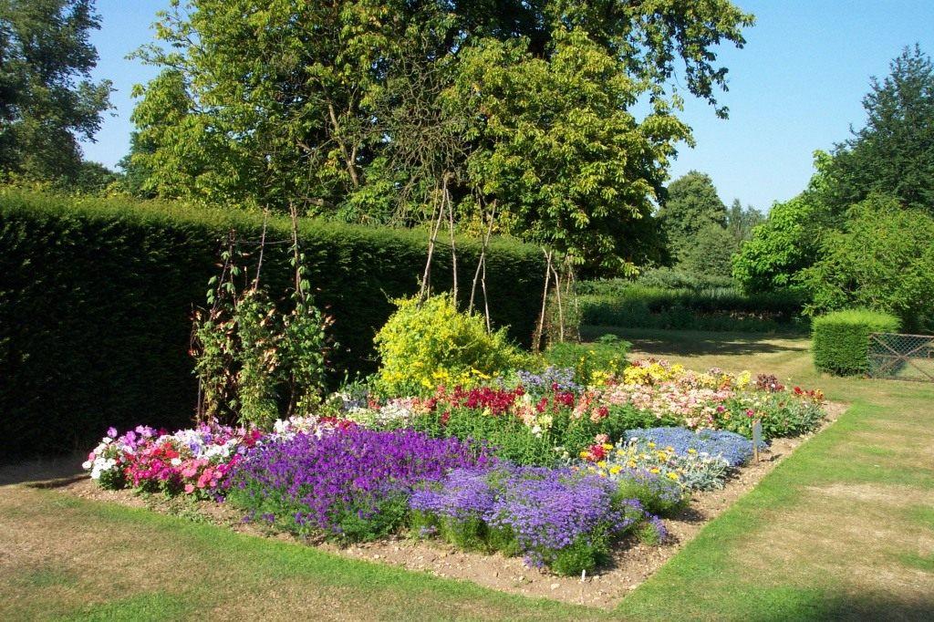 Наиболее популярные схемы посадки растений выглядят следующим образом: низкорослые растения (анютины глазки, алиссум...