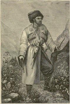 Хаджи-Мурат Хунзахский (Hadji Murad) Гравюра с литографии 1851 года.