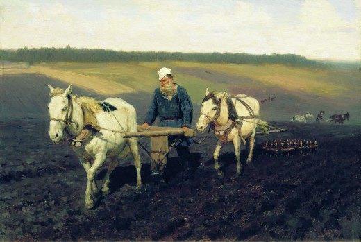 Пахарь. Лев Николаевич Толстой на пашне.