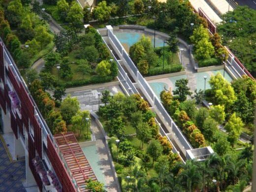 Сад на крыше торгового центра в Сингапуре