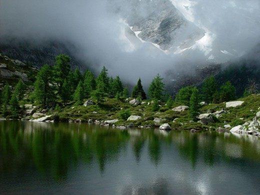 Горное озеро, Гомс, Швейцария