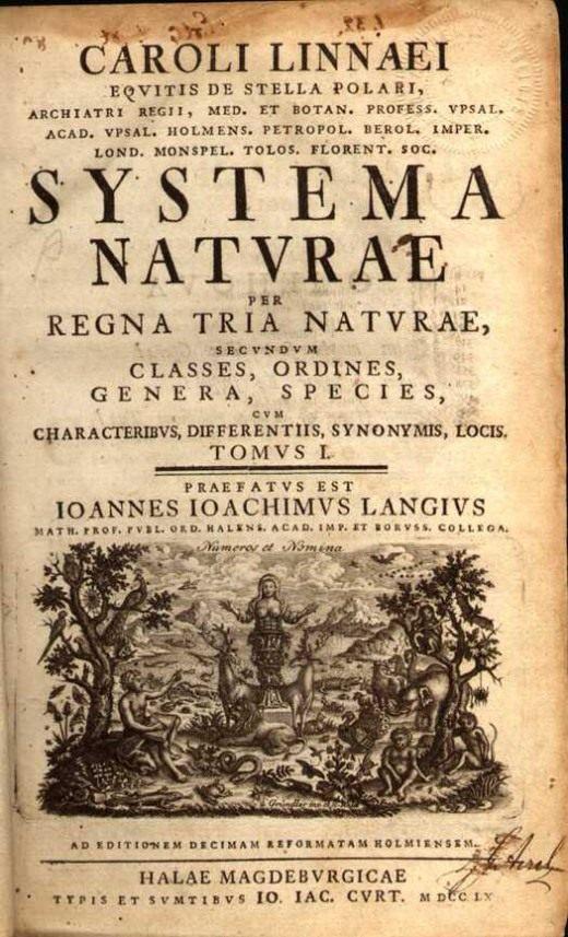 Титульный лист десятого издания Systema Naturae (1758)