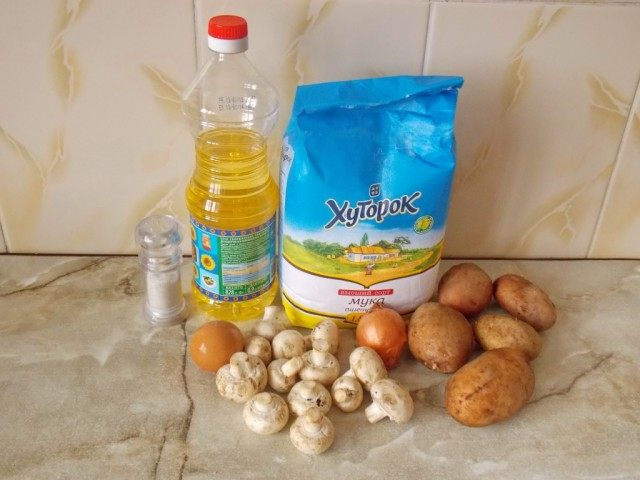 Ингредиенты для приготовления картофельных зраз с грибами