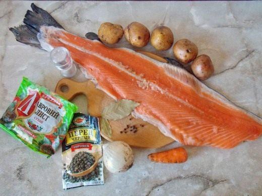 Ингредиенты для приготовления Ухи из лосося
