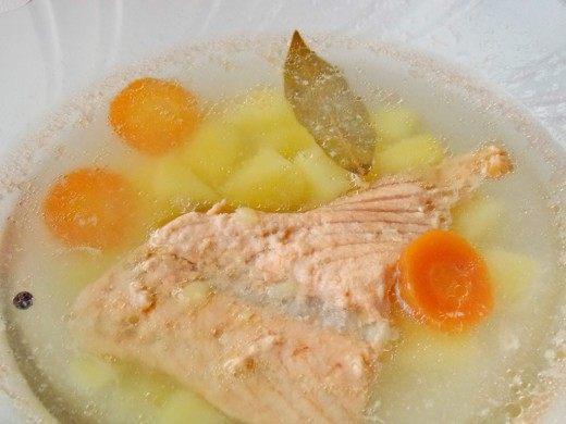 Рыбный суп. Уха из лосося.
