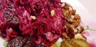 Салат из свеклы с чесноком и грецкими орехами «Бордо»