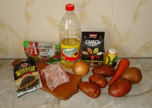 Продукты для приготовления супа фасолевого с ребрышками