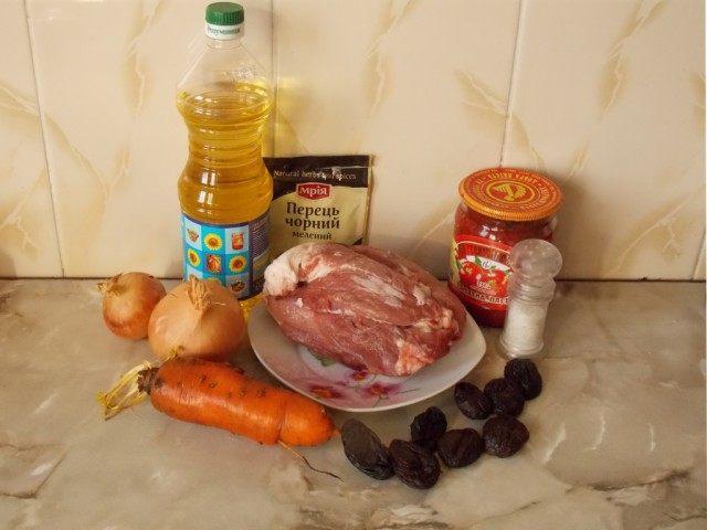 Продукты для тушёной говядины с черносливом