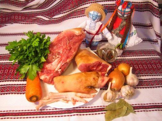 Ингредиенты для холодца из свиных ножек