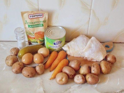 Продукты для оливье с курицей