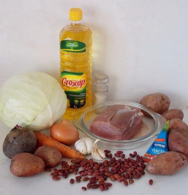 Продукты для украинского борща