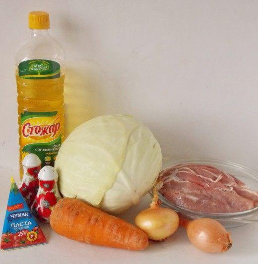 Продукты для тушёной капусты с мясом