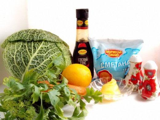 Продукты для приготовления Капустного салата Коул Слоу