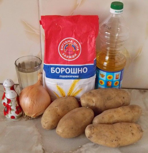 Продукты для вареников с картошкой