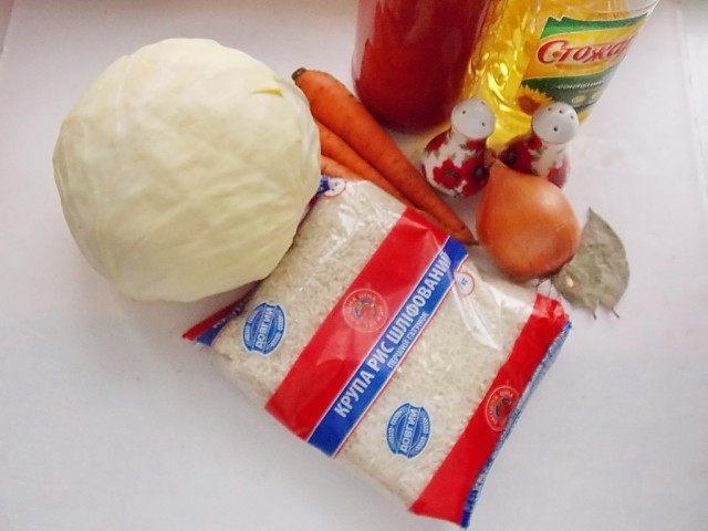 Ингредиенты для постных, овощных голубцов