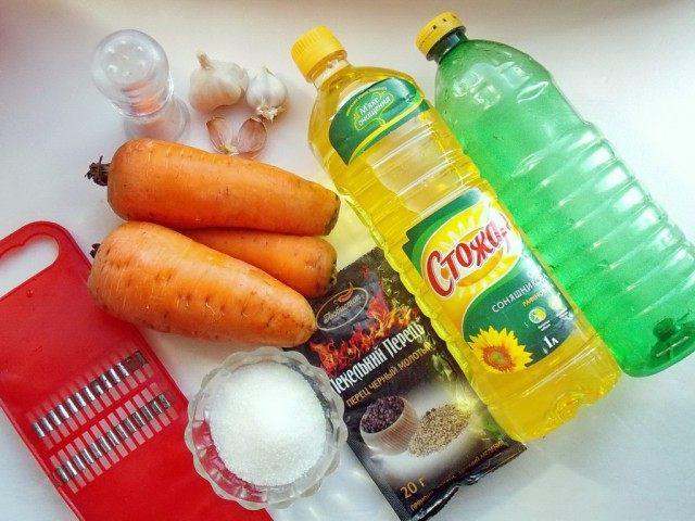 Ингредиенты для салата «Корейская морковь»