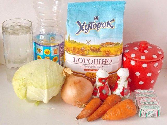 Ингредиенты для капустного пирога