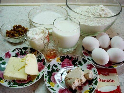 Ингредиенты для Кулича пасхального