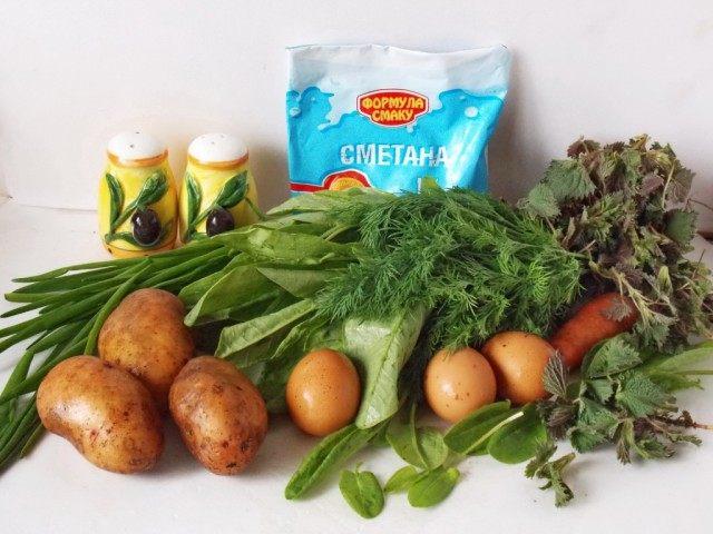 Ингредиенты для зелёного борща