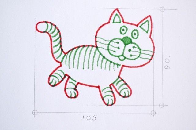 Вырезаем лекало кота из плотной бумаги