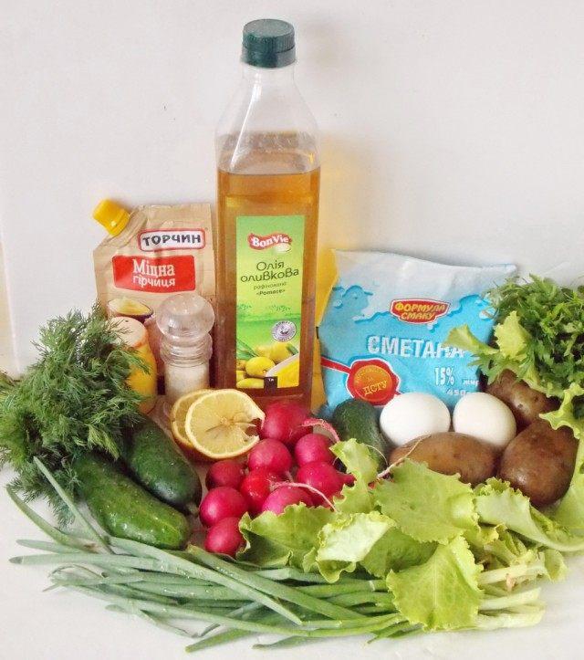Ингредиенты для весеннего слоёного салата