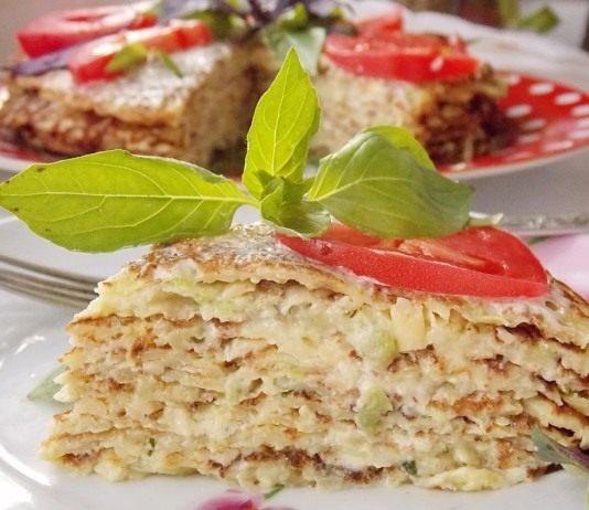 Кабачковый блинный торт