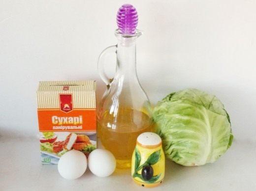 Ингредиенты для шницеля из молодой капусты