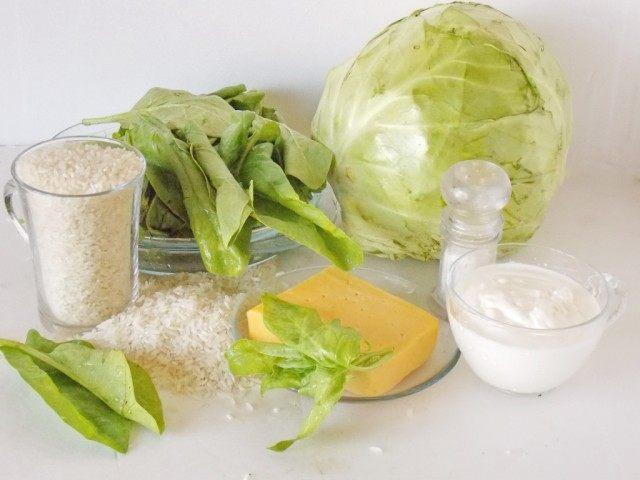 Ингредиенты для приготовления голубцов со шпинатом