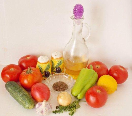 Базовые ингредиенты для приготовления Гаспачо