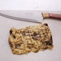 Запеченные баклажаны нарубим в пасту