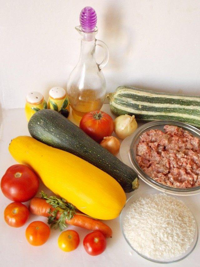 Ингредиенты для приготовления фаршированных кабачков
