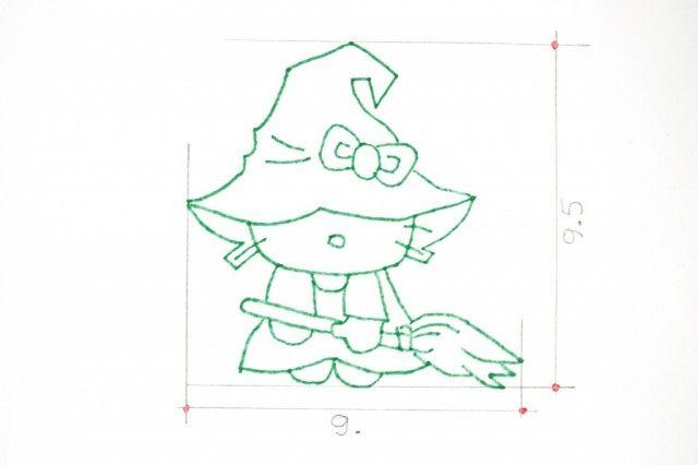 Создадим шаблон для печенья «Ведьмочка Китти»