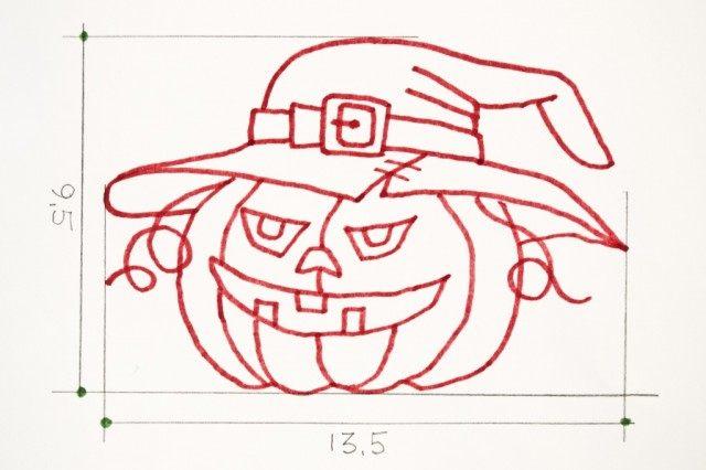 Эскиз для печенья на Хэллоуин «Тыква Джек»