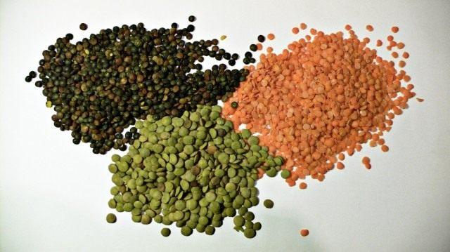 Чечевица зелёная, красная и пюи