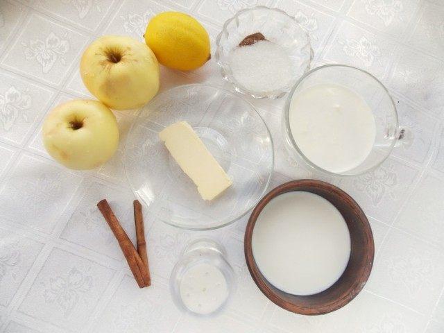 Ингредиенты для яблочного супа-десерта с яблочными чипсами