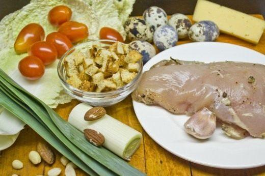 Ингредиенты для приготовления салата «Цезарь».