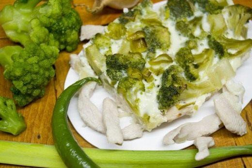 Запеканка с брокколи и куриным филе