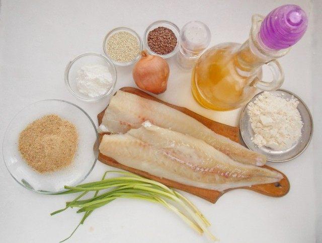 Ингредиенты для приготовления рубленых котлет из рыбного филе