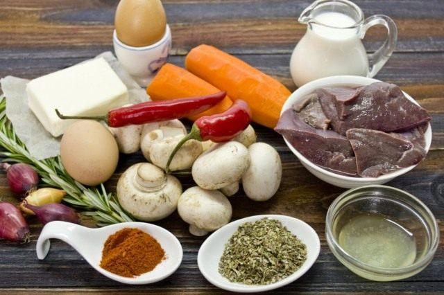 Ингредиенты для приготовления паштета из говяжьей печени