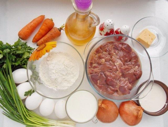 Ингредиенты для приготовления блинного торта из печени с начинкой