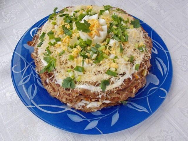 Торт из печёночных блинов