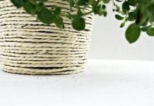 Декорирование цветочного горшка джутом