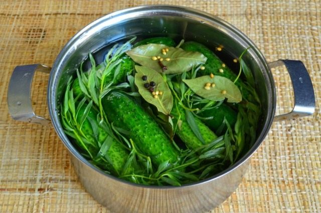 Заливаем овощи горячим рассолом