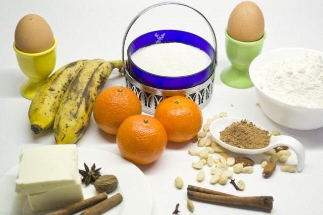 Ингредиенты для приготовления бананового кекса