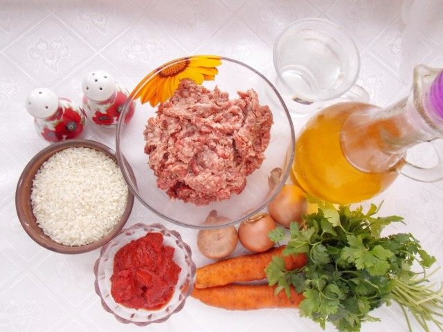 Ингредиенты для приготовления тефтелей, запечённых в томатной подливке