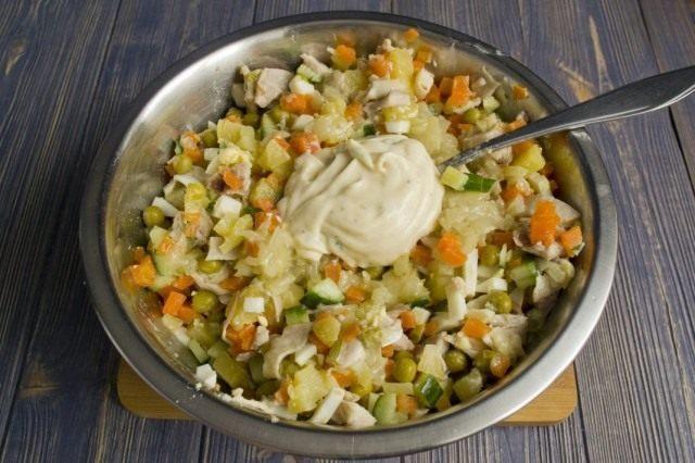 Заправляем мясной салат домашним майонезом «Провансаль»